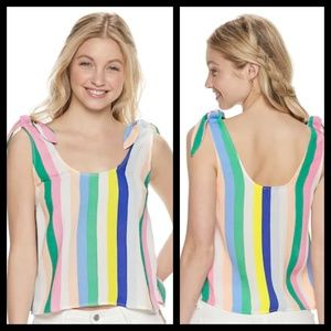 Juniors' SO Tie Shoulder Multi Stripe Tank Top NWT